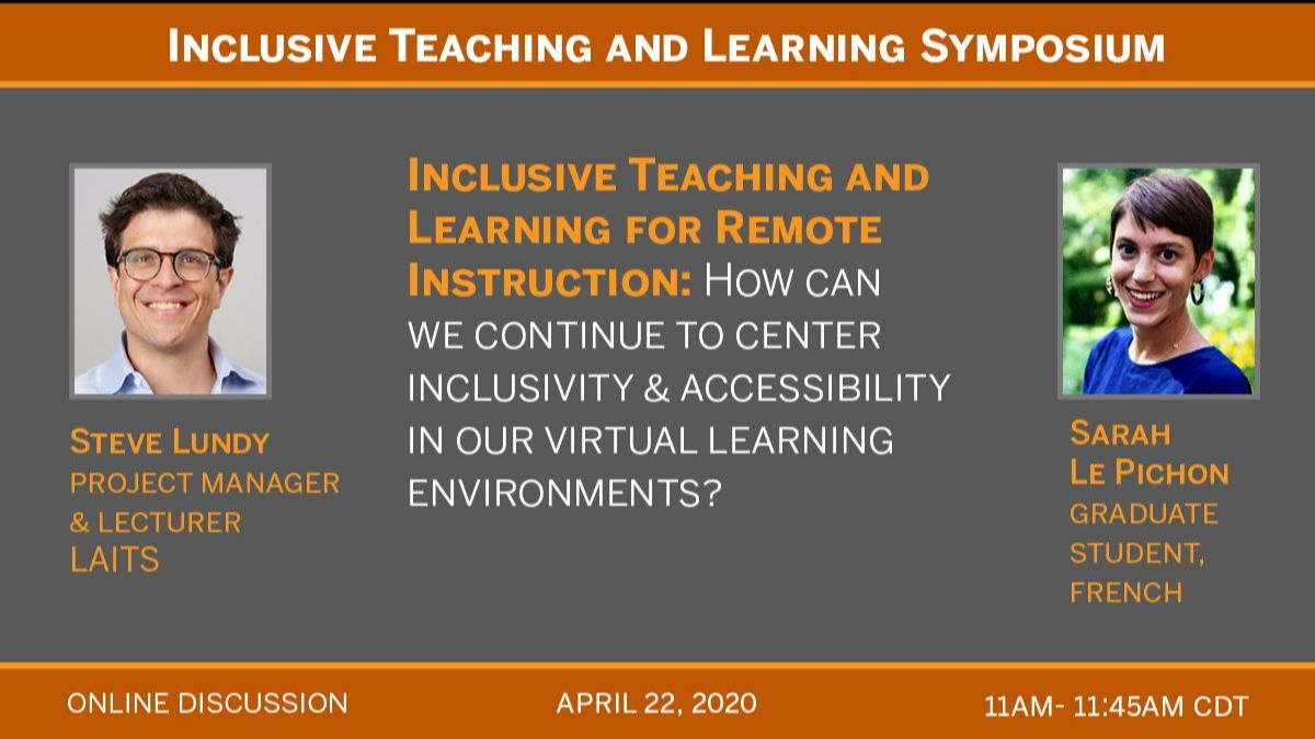 4/22 11am to 11:45am online discussion for itl for remote teaching