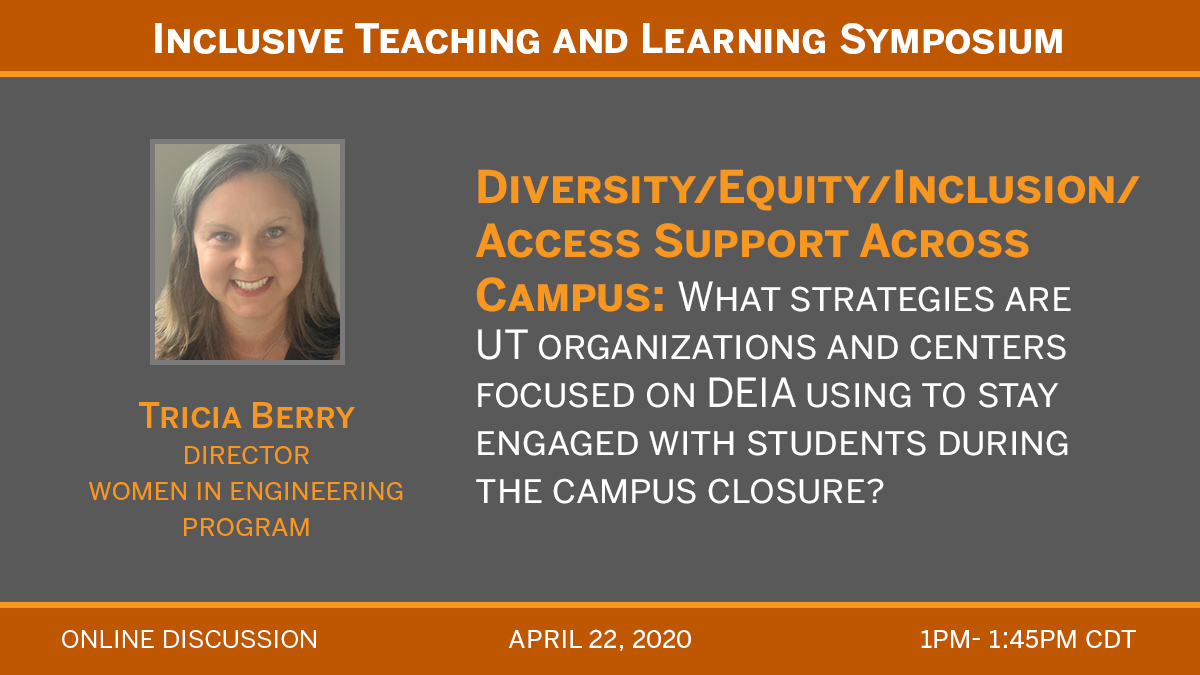 4/22 1pm to 1:45pm online discussion for diversity/equity/inclusion access support across campus
